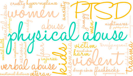 Physical Abuse word cloud on a white background.