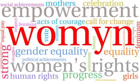 autonomia: Womyn nube de palabras sobre un fondo blanco. Vectores