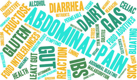 dolor abdominal: Dolor abdominal palabra nube sobre un fondo blanco.
