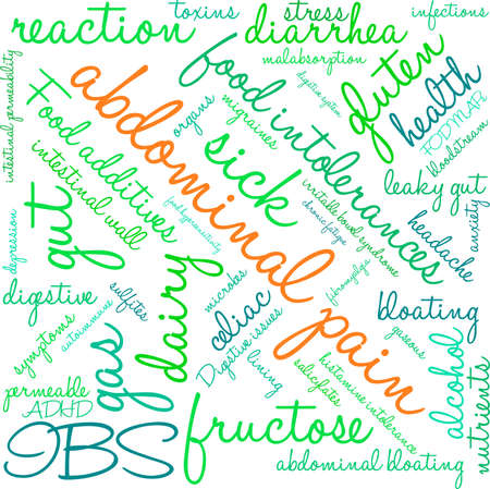 bowel: Abdominal Pain word cloud on a white background.