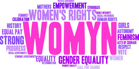 Womyn word cloud on a white background. Illustration