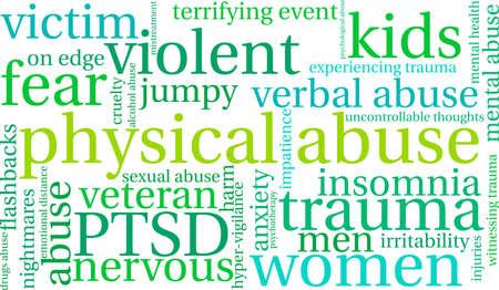 Abuso físico palabra nube sobre un fondo blanco. Vectores