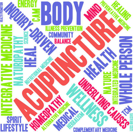 invasive: Acupuncture word cloud on a white background. Illustration