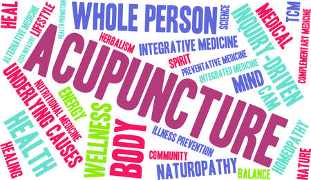 underlying: Acupuncture word cloud on a white background. Illustration