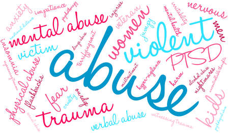 terrifying: Abuse word cloud on a white background. Illustration