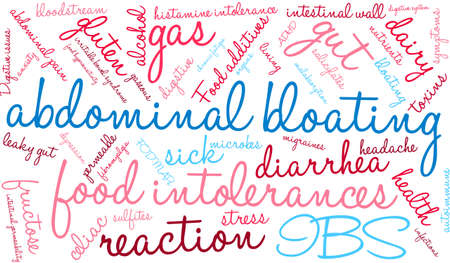 irritable bowel syndrome: Bloating word cloud on a white background.