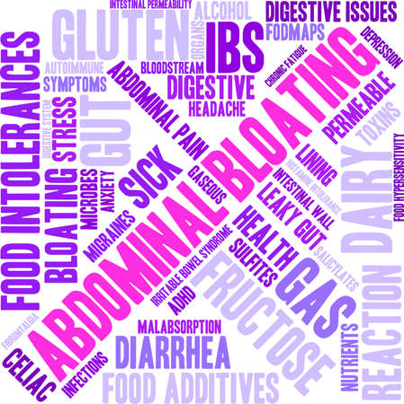 fibromyalgia: Bloating word cloud on a white background.
