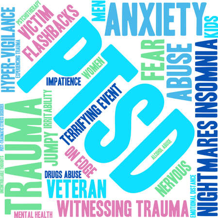 uncontrollable: PTSD Word Cloud on a white background. Illustration