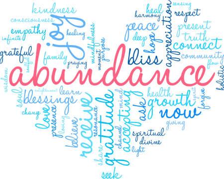 abundance: Abundance word cloud on a white background. Illustration