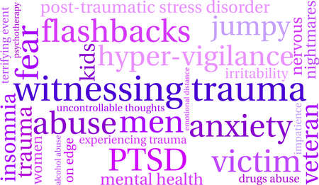 uncontrollable: Witnessing Trauma word cloud on a white background. Illustration