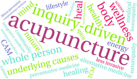 driven: Acupuncture word cloud on a white background. Illustration