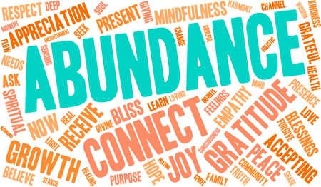 Abundance word cloud on a white background. Illustration