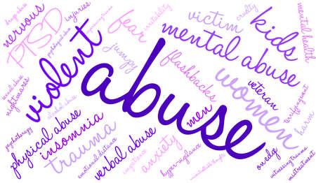 maltrato: Abuso nube de palabras sobre un fondo blanco.