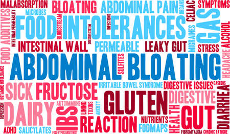 hypersensitivity: Bloating word cloud on a white background.