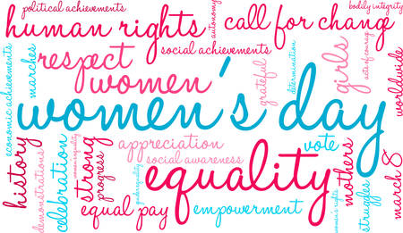 Women's Day Word Cloud on a white background. Vectores