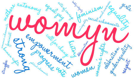 social history: Womyn word cloud on a white background. Illustration