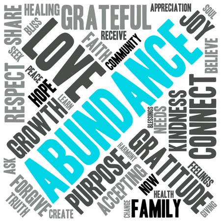 goodness: Abundance word cloud on a white background. Illustration