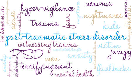 vigilance: Post-Traumatic Stress Disorder Word Cloud on a white background. Illustration