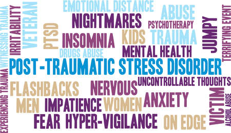 disorder: Post-Traumatic Stress Disorder Word Cloud on a white background. Illustration