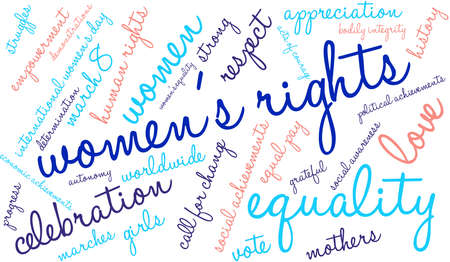 call history: Womens Rights word cloud on a white background. Illustration