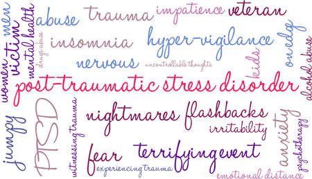 alcohol abuse: Post-Traumatic Stress Disorder Word Cloud on a white background. Illustration