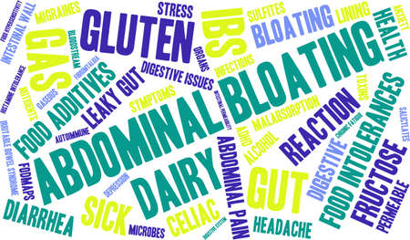 ibs: Bloating word cloud on a white background.