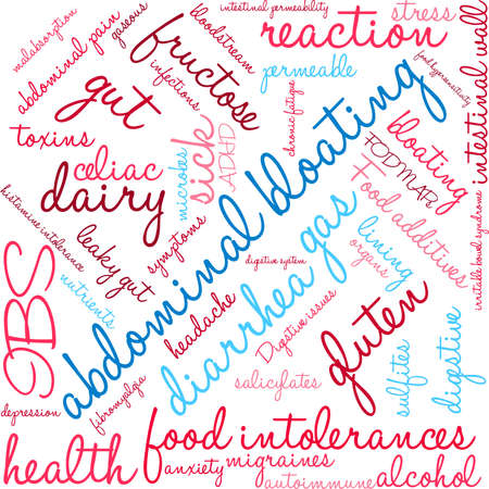 bowel: Bloating word cloud on a white background.