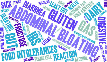 bowel wall: Bloating word cloud on a white background.