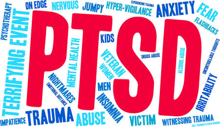 PTSD Word Cloud on a white background. Ilustrace