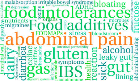 gut: Abdominal Pain word cloud on a white background.