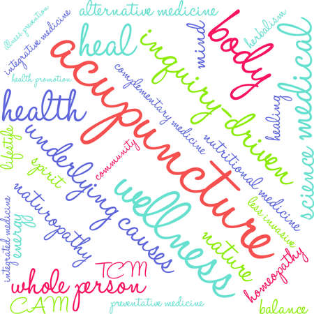 complementary therapies: Acupuncture word cloud on a white background. Illustration