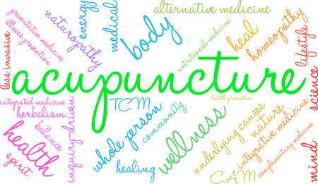 Acupuncture word cloud on a white background. Illustration