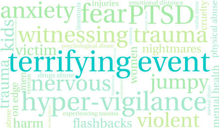 Terrifying Event word cloud on a white background. Stock Illustratie
