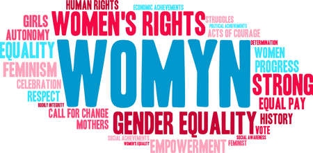 Womyn word cloud on a white background. Vetores