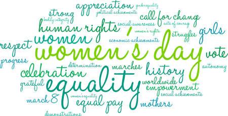 Nuvola di parola del giorno delle donne su un fondo bianco.