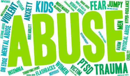 vigilance: Abuse word cloud on a white background. Illustration