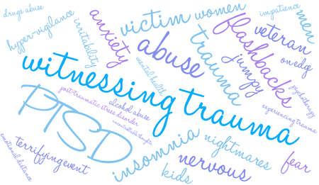 vigilance: Witnessing Trauma word cloud on a white background. Illustration