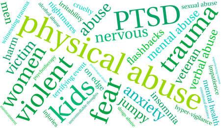 maltrato: Abuso físico palabra nube sobre un fondo blanco. Vectores