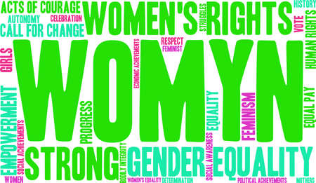 call history: Womyn word cloud on a white background. Illustration