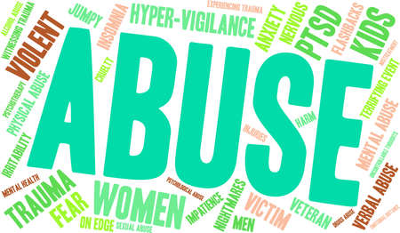 Abuse word cloud on a white background. Illustration