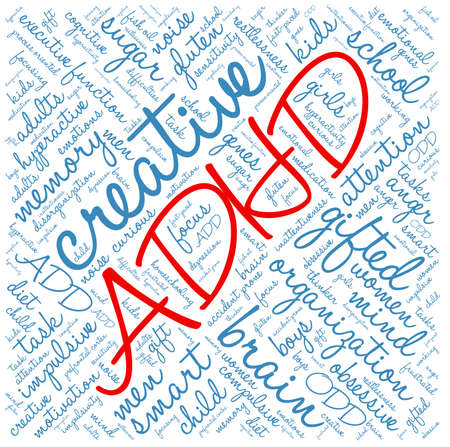 homeschooling: ADHD word cloud on a white background. Illustration