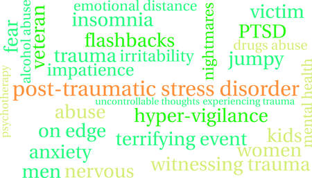 terrifying: Post-Traumatic Stress Disorder Word Cloud on a white background. Illustration