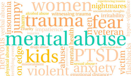 cruelty: Abuse word cloud on a white background. Illustration