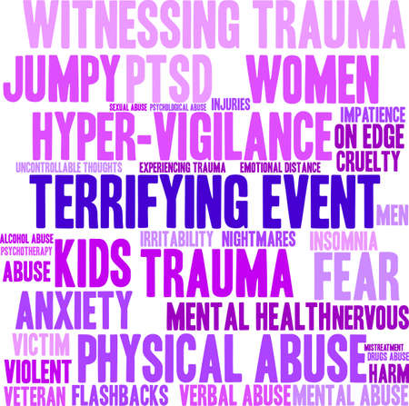 Terrifying Event word cloud on a white background. Illustration
