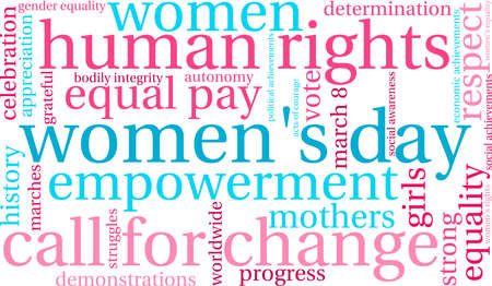 Women's Day Word Cloud on a white background. Ilustração