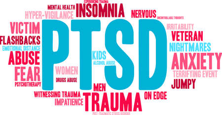 traumatic: PTSD Word Cloud on a white background. Illustration