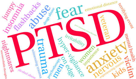 PTSD Word Cloud on a white background. Vectores