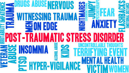 Post-Traumatic Stress Disorder Word Cloud on a white background. 일러스트