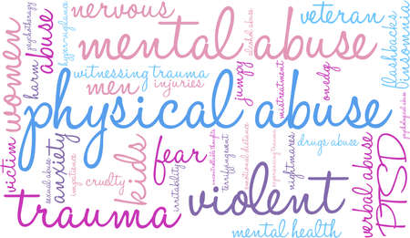 terrifying: Physical Abuse word cloud on a white background.