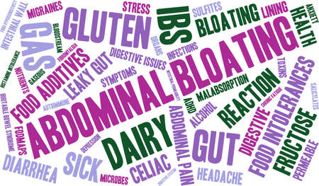 malabsorption: Bloating word cloud on a white background.